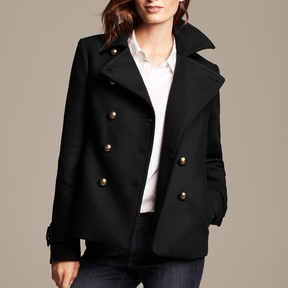 Banana Republic Jackets & Blazers - BANANA REPUBLIC CROPPED PEACOAT BLACK PXS